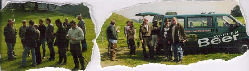 """Kursus med Joseph Beer,""""Waffen Bear"""" og hans kunder i Füssen i Bayern, bjergene man ser i baggrunden ligger i CH."""