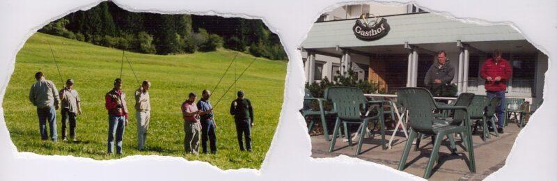 """Venstre Billed: Kursus i en fantastisk natur på grænsen mellem Østrig & Italien Dolomitterne. Billed Højre: Göran og jeg gør """"grejet"""" klar til det næste kursus!"""